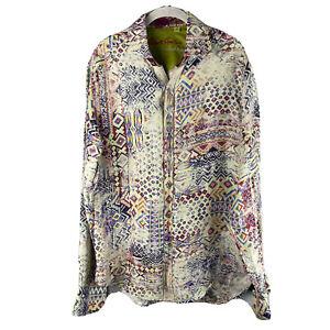 robert graham limited edition shirt men small silk linen geometric multicolor