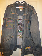 LRG Denim Jacket Chief Rocker 4XL Lifted Research Group Indian Embroidered