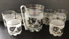 Vintage Ice Bucket & Glasses Bar Ware Set Gold Black DeValBor Italy Mid Century