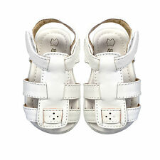 NEW Boys Girls Kids Leather Sandals Slip on Shoes sz0-5 Newborn-20M White