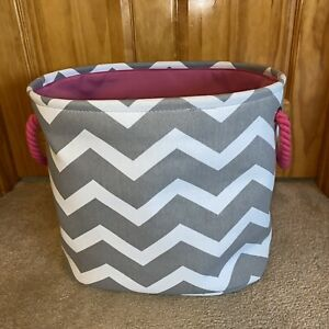 Gray White and Pink Chevron Canvas Bin with Handles