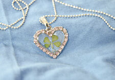REAL FOUR LEAF CLOVER PENDANT HEART  (pink)