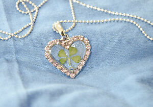 JEWELLERY PENDNT REAL FOUR LEAF CLOVER  HEART (Brilliant white)