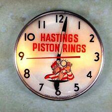 "Vintage Advertising Clock Fridge Magnet 2 1/4"" Hastings Piston Rings 1950's"