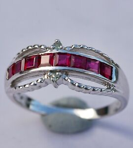 RUBY & ALEXANDRITE WHITE GOLD RING - SIZE '0' -  RRP: £320  - BEAUTIFUL