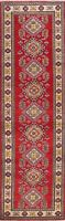 RED Super Kazak Geometric Traditional Oriental Runner Rug Hand-knotted Wool 2x8