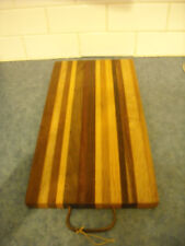 VINTAGE HANDMADE WOOD MULTI COLOUR CUTTING BOARD CHEESE TRAY DISPLAY GORGEOUS!