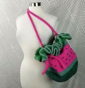 Handmade Watermelon Felted Wool Extra Large Handbag Purse Shoulder Tote Satchel