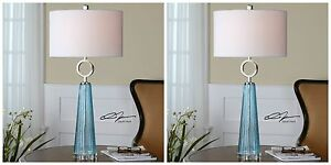 "PAIR NAVIER XXL 34"" MODERN SEEDED GROOVED BLUE GLASS TABLE LAMPS NICKEL METAL"