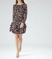 REISS ASTER Printed Fit & Flare Multicoloured Mini Dress 3/4 Sleeve Ruffles UK8
