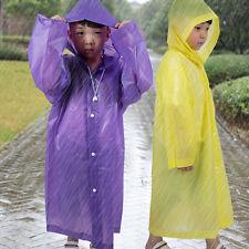 Kids Girl Boy Hooded Jacket Rain Poncho Raincoat Cover Long Rainwear Poncho