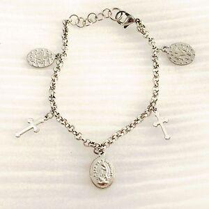 Kids Girls Silver Charm Cross Bracelet Gift/Flower Girl/Baptism/Communion- UK