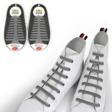 TOTOMO Gray No-Tie Elastic Shoelaces Silicone Tieless Shoe Laces for athletic