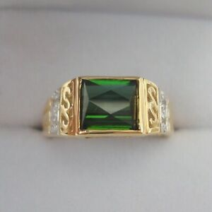 Certified Rare Natural Santa Rosa Green Tourmaline Gold Ring