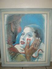 Signed Barry LEIGHTON JONES A Helping Hand Emmett Kelly Clown Litho on Canvas