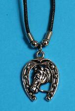 Halskette Anhänger Hufeisen + Pferde-Kopf, Western Country Reiter, Symbol Glück