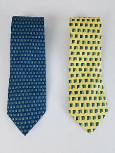 VINEYARD VINES Custom Collection Lot of 2 Geometric AVIVA Silk Neck Ties