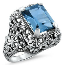 4 Ct SIM AQUAMARINE ANTIQUE ART DECO STYLE 925 SILVER FILIGREE RING SIZE 9,#343