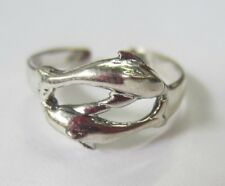 Sterling Silver Adjustable Toe Ring 2 Dolphin Design Solid 925 Jewelry