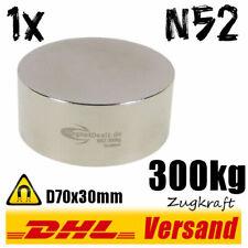 Neodym Magnet D70x30mm 7x3cm 300kg N52 rund starker super runder Scheibenmagnet