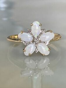 Vintage Ladies 9ct Gold & Opal & Diamond  Cluster Flower Ring, Size P, Fab!