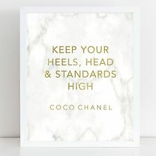 Real Gold Foil Print  with Marble background / Coco Chanel Print