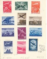 Stamp Bulgaria SC C19-30 1940 WWII Airmail Train Motorcycle Sofia Set MH