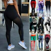 Women's High Waist Yoga Pants Print Sports Fitness Stretch Leggings Trousers AS