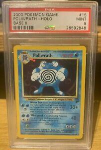 Poliwrath Base Set 2 15/130 PSA 9 Mint Holo POP 302 Pokemon 2000