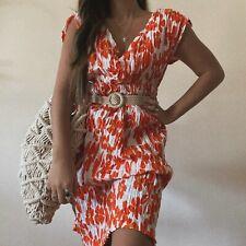 Vintage Hecha a Mano Blanco Naranja Floral Vestido Midi Verano Envoltura Acanalada Uk 14