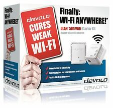 DEVOLO 9085 POWERLINE DLAN 500 WIFI STARTER KIT WITH 2 ADAPTERS/PLUGS