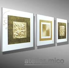atelier mico ☆☆☆☆☆ Original Acrylbild Struktur Leinwand Gemälde GOLD Bilder