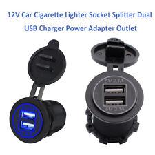 Blue LED Motorcycle DC Car Cigarette Lighter Socket Dual USB Charging Adapter US