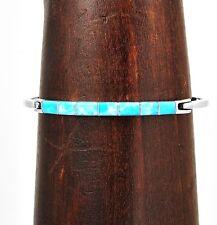Silver Contemporary Larimar Line Cuff Bracelet Taxco Mexico