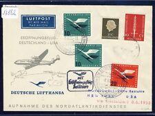 53882) LH FF Düsseldorf - New York 8.6.55, SoU ab Niederlande, Dt.Zusatz