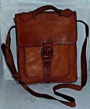 """Vintage Brown Leather Book Shoulder Bag Messenger Lv? 13""""X10""""X2.5 4;"""