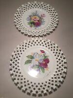 "Vintage Set (2) Porcelain Floral Lattice Plates Japan 8.25"" Signed Hand Painted"