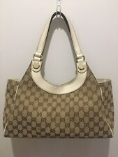 GUCCI Charmy Bag Monogram GG Canvas & Off White Leather Shoulder Bag 154982