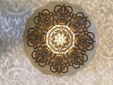 Turkish Glass With  Gold And Bronze Design Serving Bowl Platter New