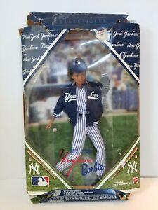 1999 Mattel New York Yankees Barbie Doll in Damaged Box COA