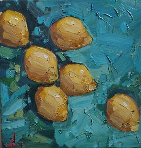 LEMON TREE OIL PAINTING BY ARTIST VIVEK MANDALIA IMPRESSIONIST  ART  12 X 12