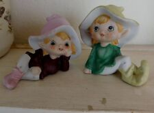 Vintage Homco Elf Elves Gnomes Pixies Shelf 2 Figurines 5213 Estate