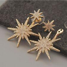 Fashion Women Dangle Gold Star Ear Stud Earring Girl Crystal Rhinestone Jewelry
