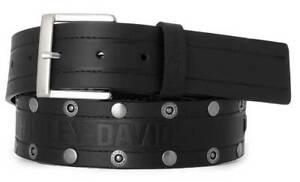 Harley-Davidson Men's Disturbance Studded Leather Belt w/ Antique Nickel Finish