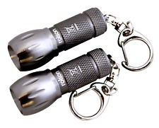 New Rolson 2Pc Aluminium LED Key Ring Torch Battery Included Ultra Bright Light