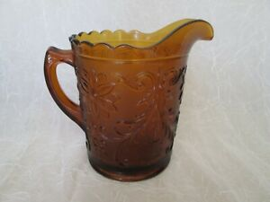 """Tiara Amber Sandwich Indiana Glass 8.25"""" tall Large Water Serving PITCHER"""