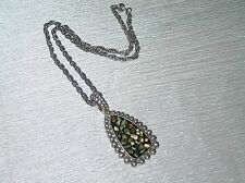 Link Chain with Large Abalone Inlaid Gently Used Double Oval Loop Silvertone