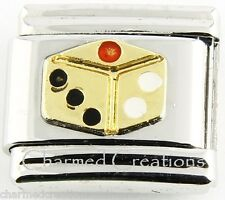 9mm Italian Charm Modular Link Gold Dice Craps Games Gambling Casino