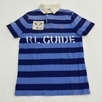 Polo Ralph Lauren RL Guide Polo Shirt Men's M Short Sleeve Blue Striped Cotton