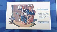 Risque Comic Postcard 1930s Nylons Stockings Garter Long Legs MAID Telephone
